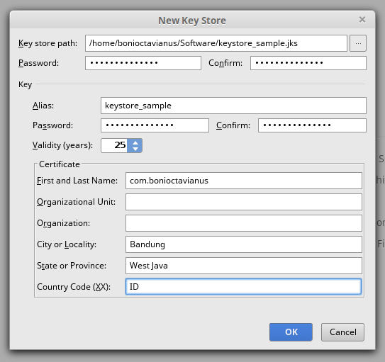 create new keystore 3
