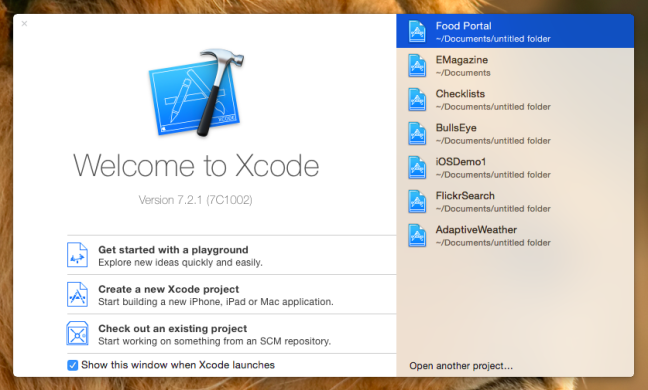 new xcode project