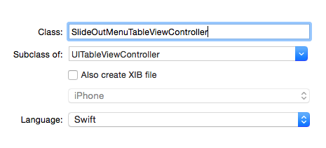slide out menu table view controller